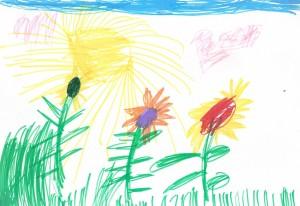 Girasoli. Bambini di disegno.